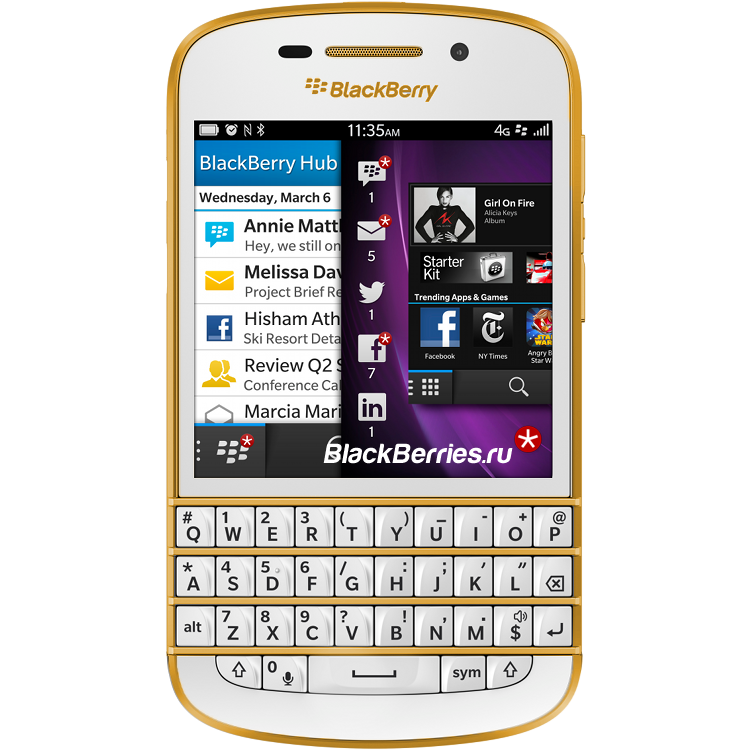 blackberry q10 white gold купить