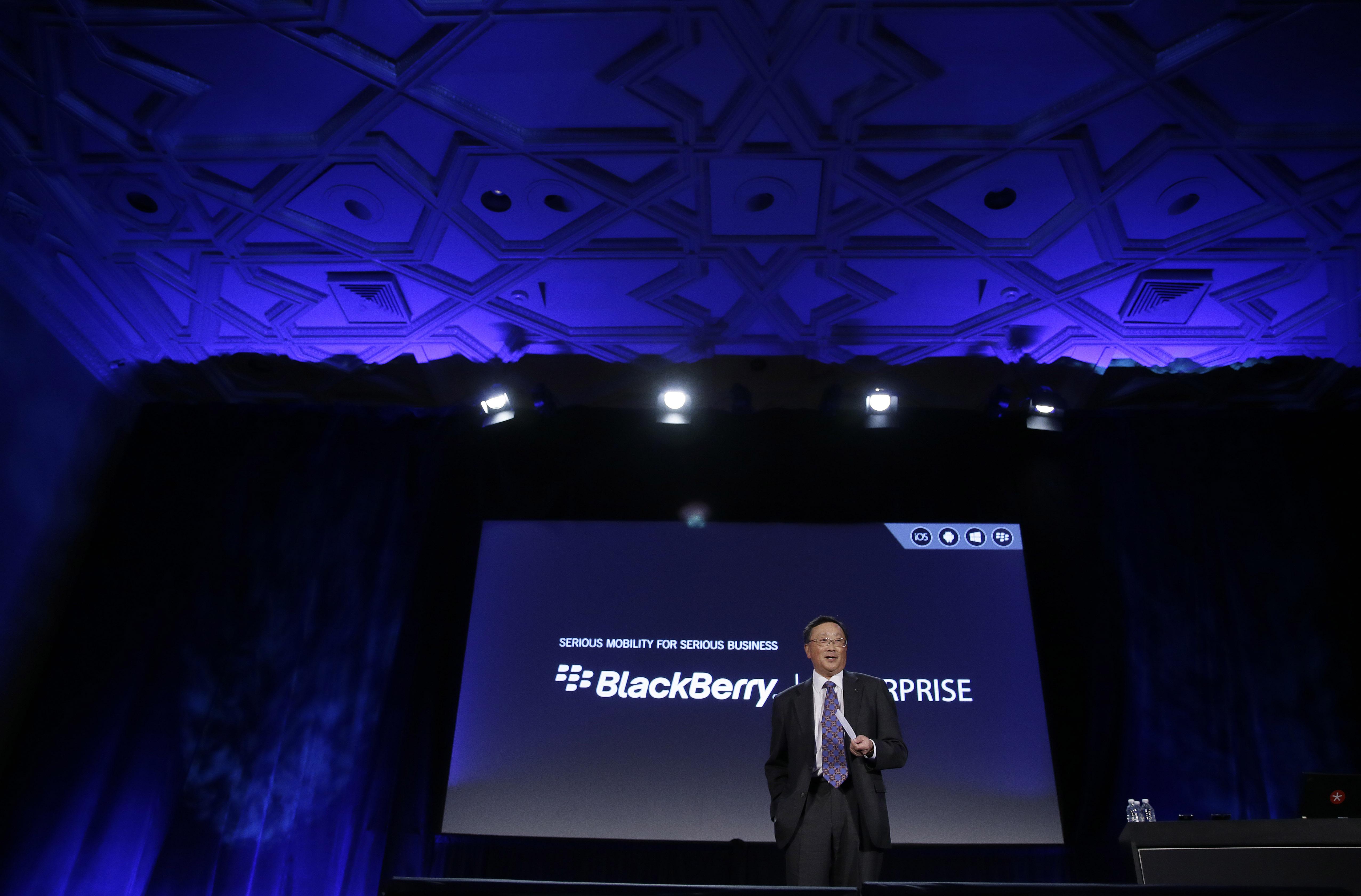 Генеральный директор BlackBerry Джон Чен во время запуска портфолио BlackBerry Enterprise в 2014 году. Фото из архива. (Eric Risberg/AP)