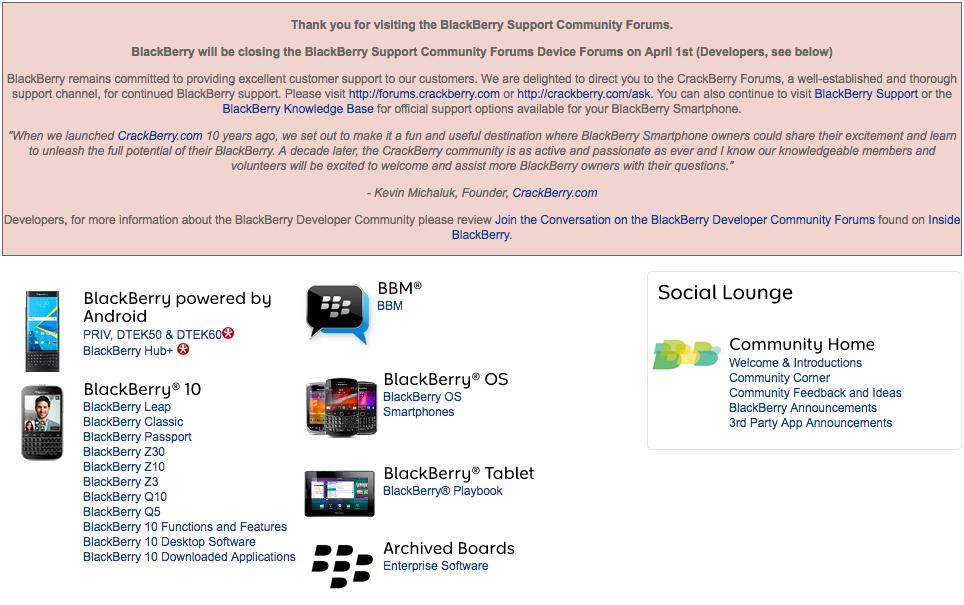 1 апреля BlackBerry закроет BlackBerry Support Community